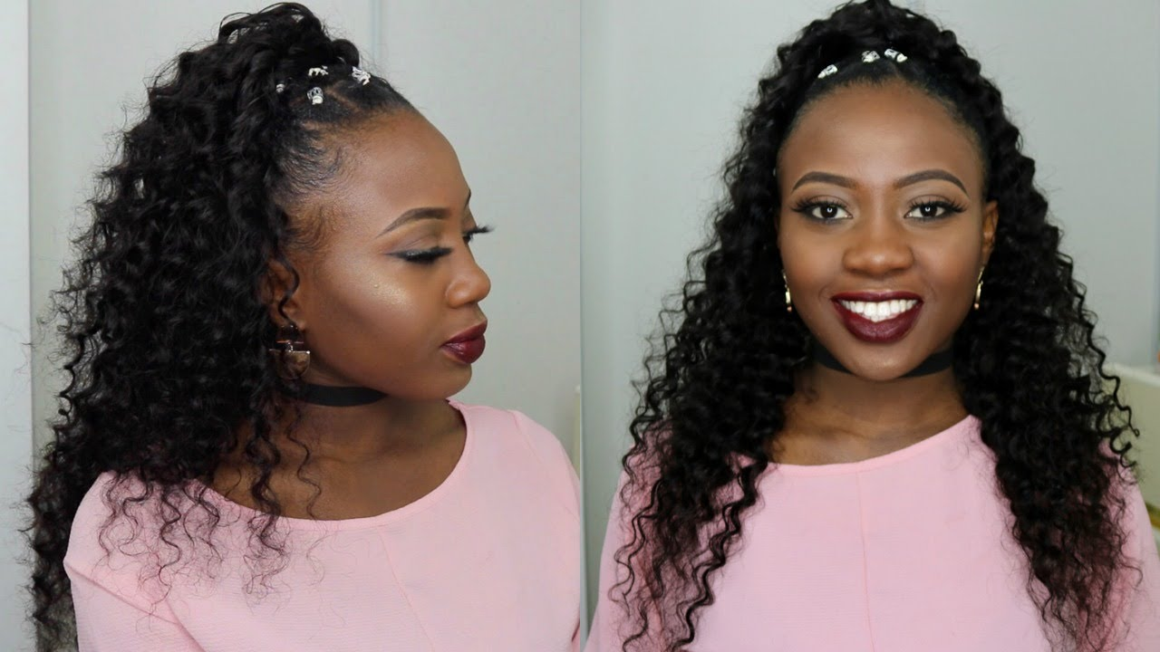 Half Up Half Down Quick Weave Hairstyle On Short Natural 4c Hair Tutorial Tinashe Hair Youtube