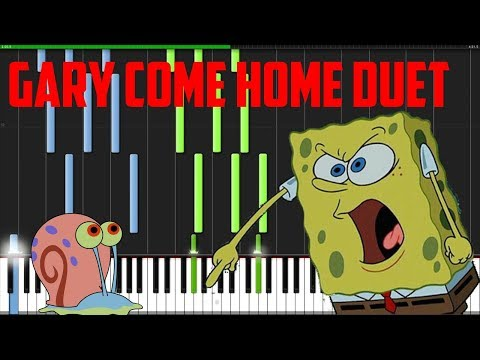 Spongebob Squarepants - Gary Come Home Duet (Piano Tutorial) [Synthesia]