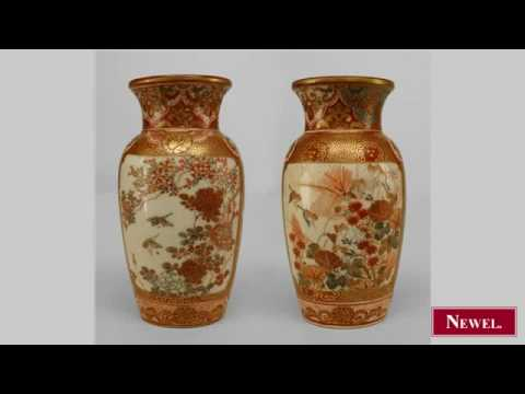 Antique Pair Of Oriental Japanese 19th Cent Small Satsuma Youtube