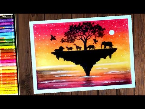 Save Wildlife Poster step by step oil Pastels Drawing || for Kids and beginners