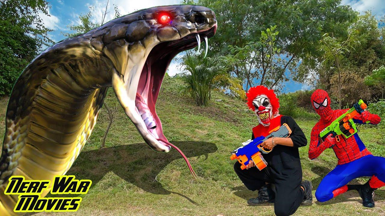 Nerf War Movies: Spiderman X Warriors Nerf Guns Fight Criminal Group Giant Snake Attack