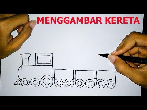 Cara Mudah Menggambar Kereta Api Untuk Anak - How to draw a train easily for kids