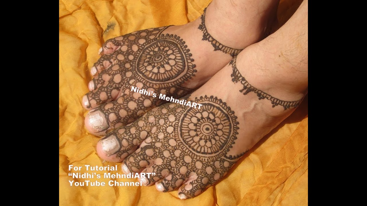Bridal Mehndi On Foot : Attractive traditional bridal circular feet henna mehndi design