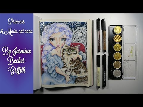 {Adult Coloring Timelapse} Jasmine Becket-Griffith : Princess with a Maine Coon Cat