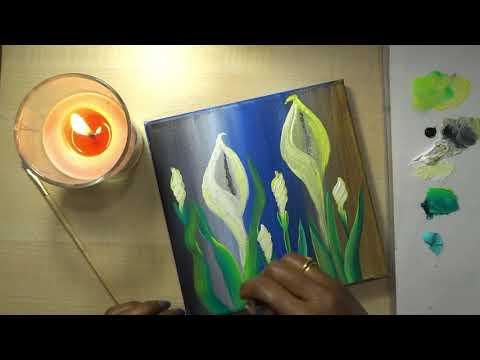 How to paint Lily | Abstract flower painting | Floral |Acrylic painting techniques | Time-lapse