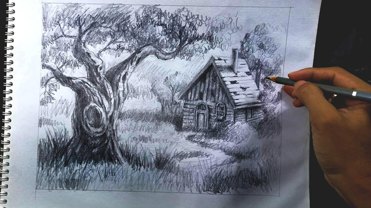 Back To Basic Landscape Sketching With Old Barn And Tree Using Pencils By Jm Lisondra Youtube