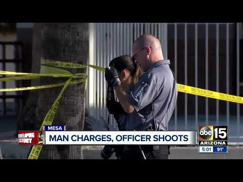 Man shot after charging Mesa police officers