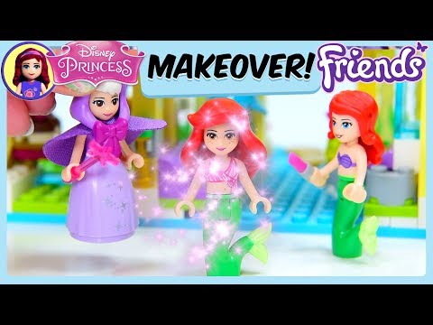 Disney Princess Makeover Lego Friends at Disneyland Silly Play Dressup