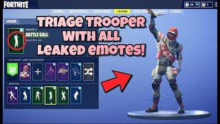 "NOUVEAU ""TRIAGE TROOPER"" SKIN Showcased With ALL LEAKED EMOTES! Fortnite Bataille Royale"