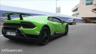 Lamborghini Huracan Performante in Monaco - Loud Acceleration, Revs & Downshifts!