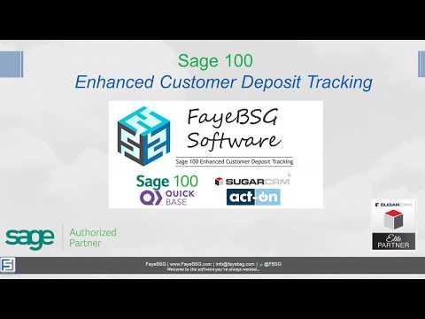 Sage 100 Enhanced Customer Deposit Tracking | FayeBSG