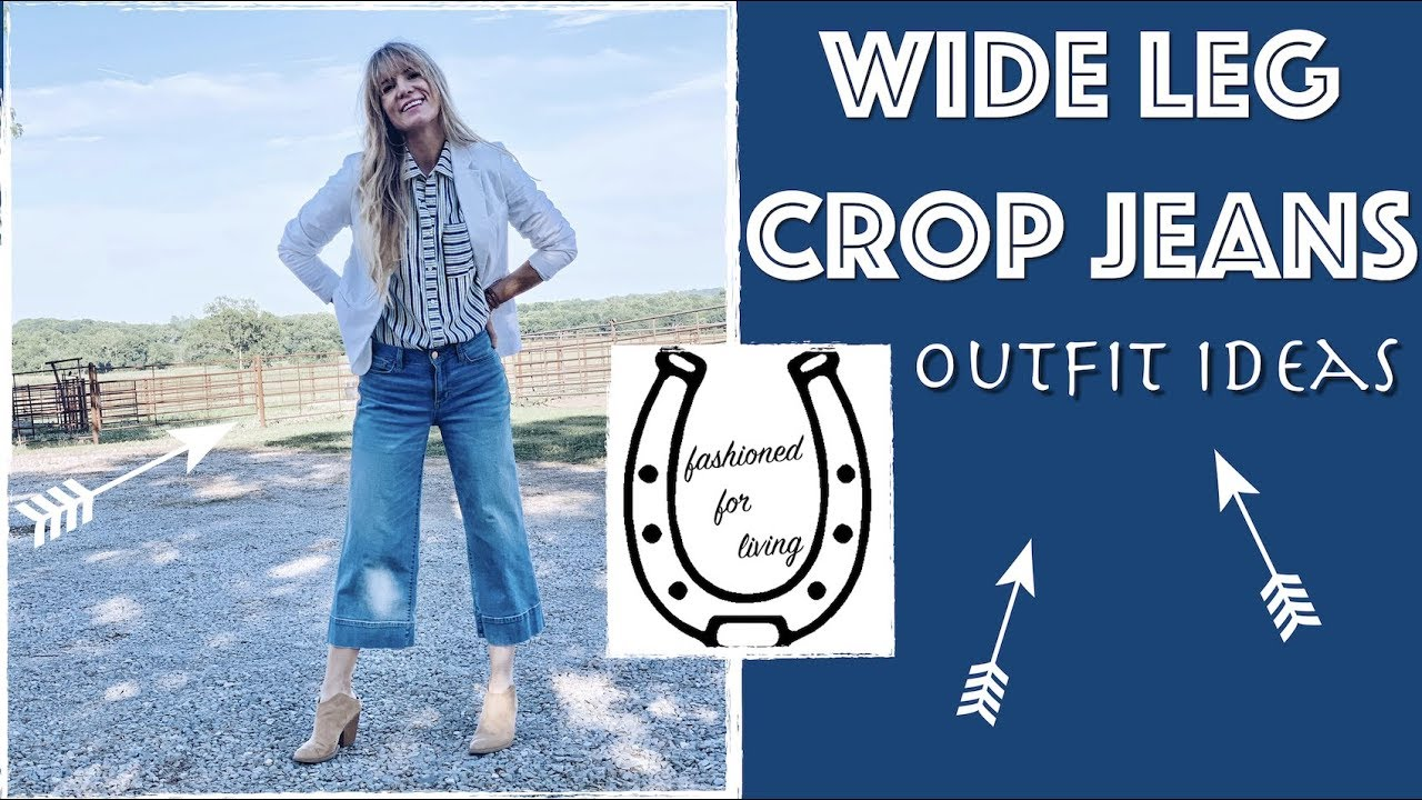 5a7f383c569 wide leg crop jeans outfit ideas - YouTube