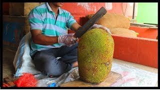 FRUIT NINJA of RAW JACKFRUIT | Amazing jackfruit Fruits Cutting Skills | Indian Street Food In 2018