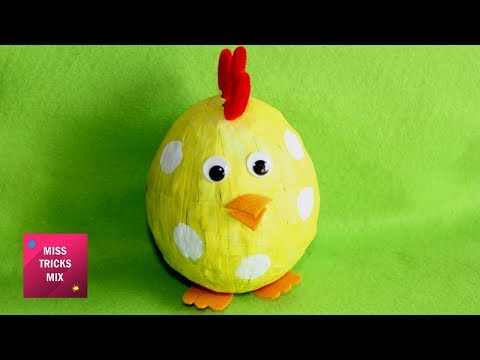 DIY : How To Make A Pretty Paper Chicken Easter Room Decoration / Easter Crafts.