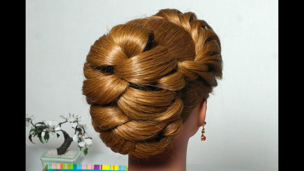 Hairstyle for long hair with twist braid Updo tutorial