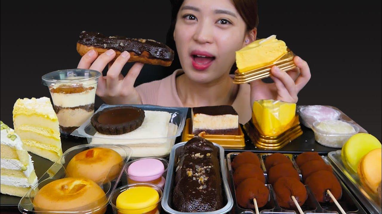 🧁Convenience store food😍편의점 디저트 4탄!! 무엇을 가져왔을까요오~? [Chocolate cake, Trate, Macaron] Mukbang😆