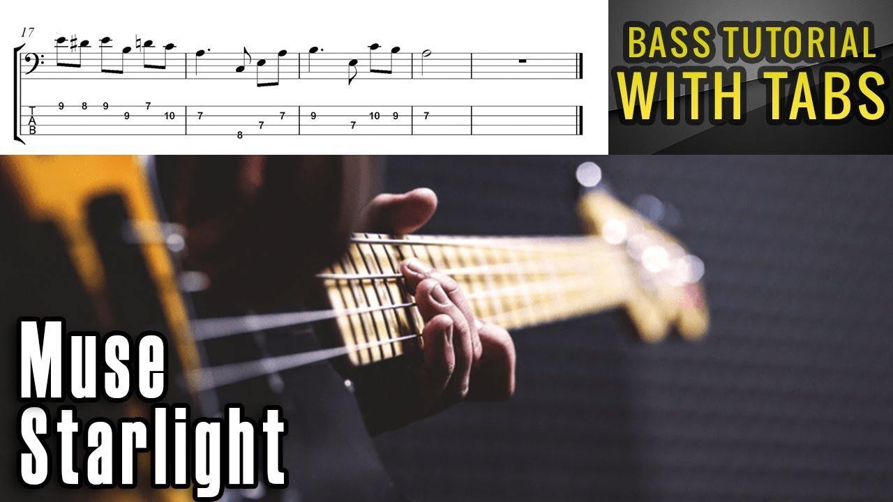 Muse Starlight Bass Tutorial With Tabs Play Along Youtube