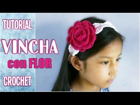 Como tejer una diadema, banda o vincha con flor en crochet ganchillo ...