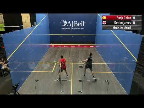Match 6 Borja Golan (ESP) Vs  Declan James (ENG) AJ Bell European Individual Squash Championship