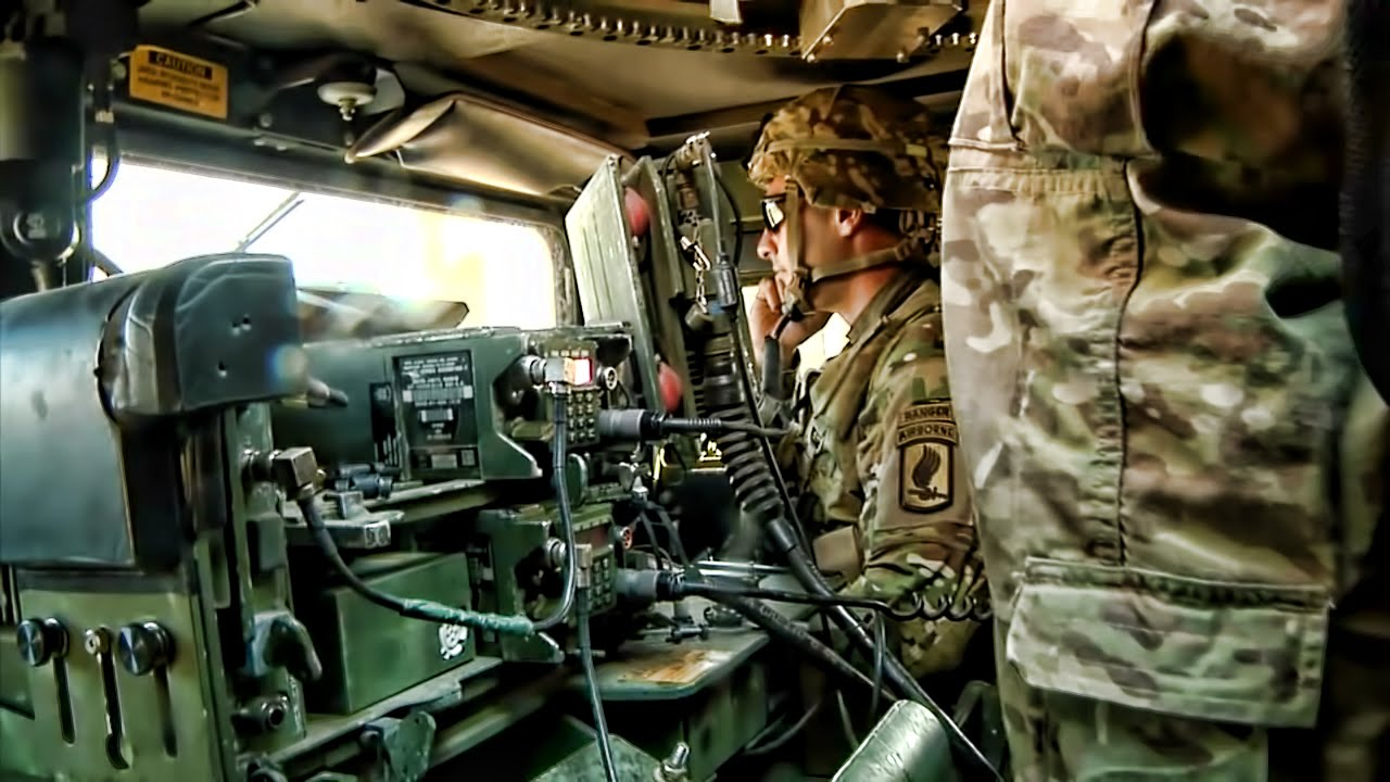 50 Cal Mounted Humvee Crew In Action With Interior View