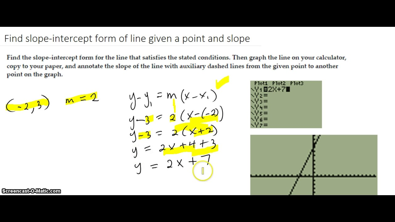Find The Slopeintercept Form Of A Line Given A Point And Slope