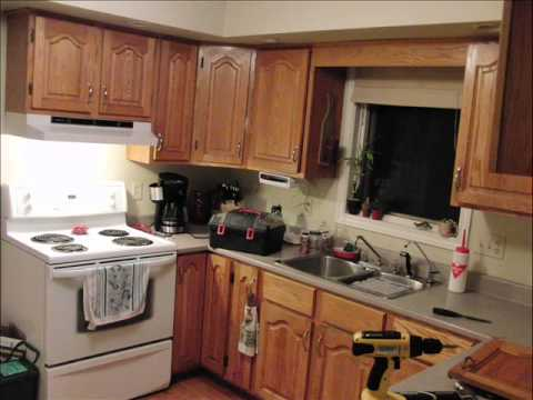 Painting oak kitchen cabinets white before and after - YouTube