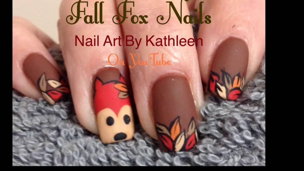 Inspired Fall Fox Nail Art - YouTube