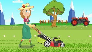 Girl and lawn mower - Cartoon Video For Children & Tractors For Kids | Dziewczyna i Kosiarka