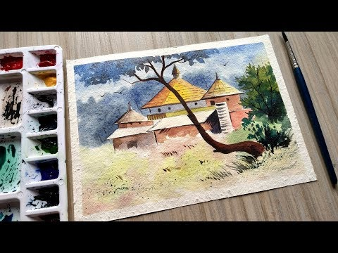 watercolor landscape painting for beginners tutorial : Beautiful Scenery