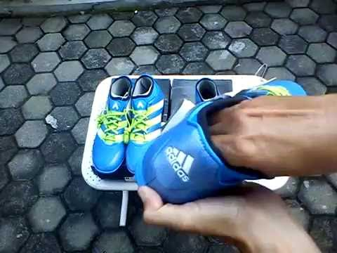 5ffc2bd7d2ec Sepatu Futsal Adidas Ace 16 3 Primemesh TF Blue Unboxing - YouTube