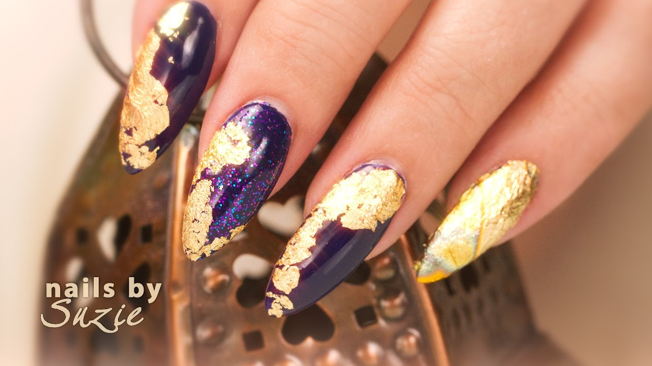Gold foil nail art youtube gold foil nail art prinsesfo Images