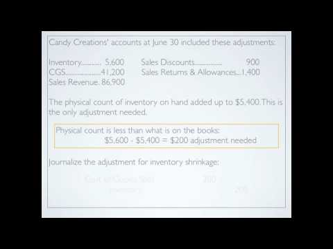 Merchandising: Closing accounts; Adjusting accounts; Inventory Shrinkage - Accounting video