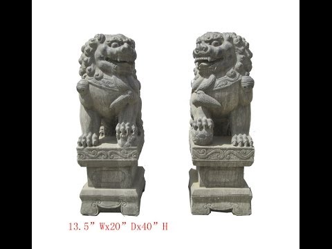 Huge Pair Chinese Antique Hand Carving FenShui Foo Dog Statue w/Base WK2787