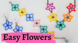 Easy Flowers Making || Beaded Flowers || Kum Boncuktan Kolay Çiçek Yapımı