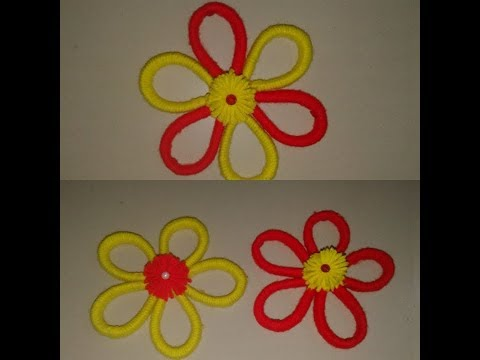 DIY woolen and newspaper craft | easy woolen and newspaper flower craft