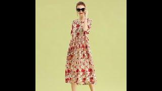2021 новое летнее женское элегантное платье с вышивкой розы круглым вырезом до колена винтажное миди
