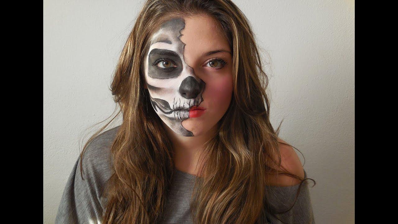 Halloween makeup tutorial- mezza faccia scheletrica! - YouTube
