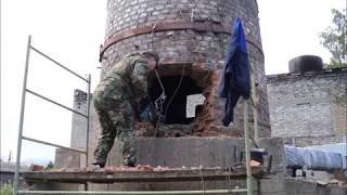 Демонтаж кирпичной дымовой трубы Н=30м в поселке Кисельня