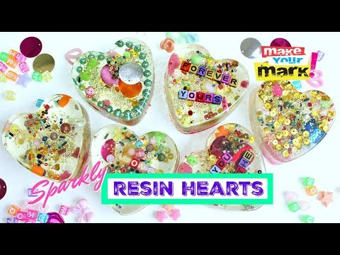 Sparkly Resin Hearts DIY