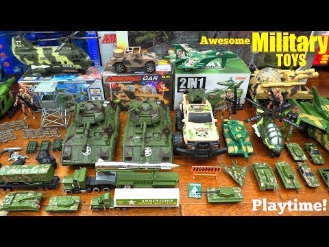 A Collection of Toy Soldiers and Military Vehicle Toys! Toy