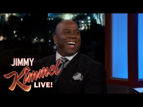 "Magic Johnson to Jimmy Kimmel: ""I had to go to CBA school, salary cap school, tampering school...[If I run into Paul George] I just can't say 'I want you to come to the Lakers' but I'm gonna be winking at him"""