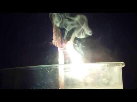 Molten Magnesium Falling Into Water