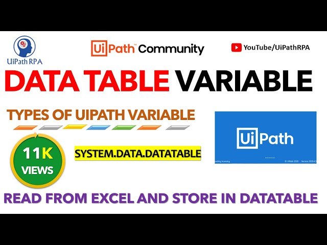 UiPath DataTable Variable | Store Excel Data UiPath | Types of UiPath Variable | UiPathRPA
