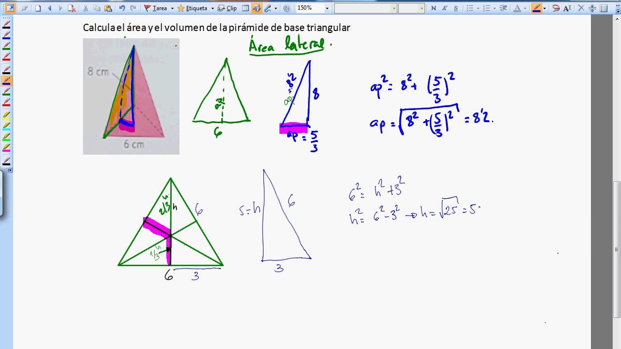 volumen y area de una piramide de base triangular  YouTube