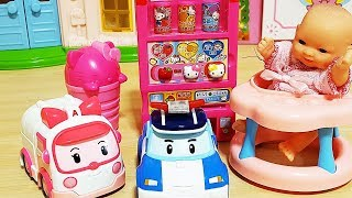 Baby doll Hello Kitty Vending machine drink and toys Robocar Poli baby doll play