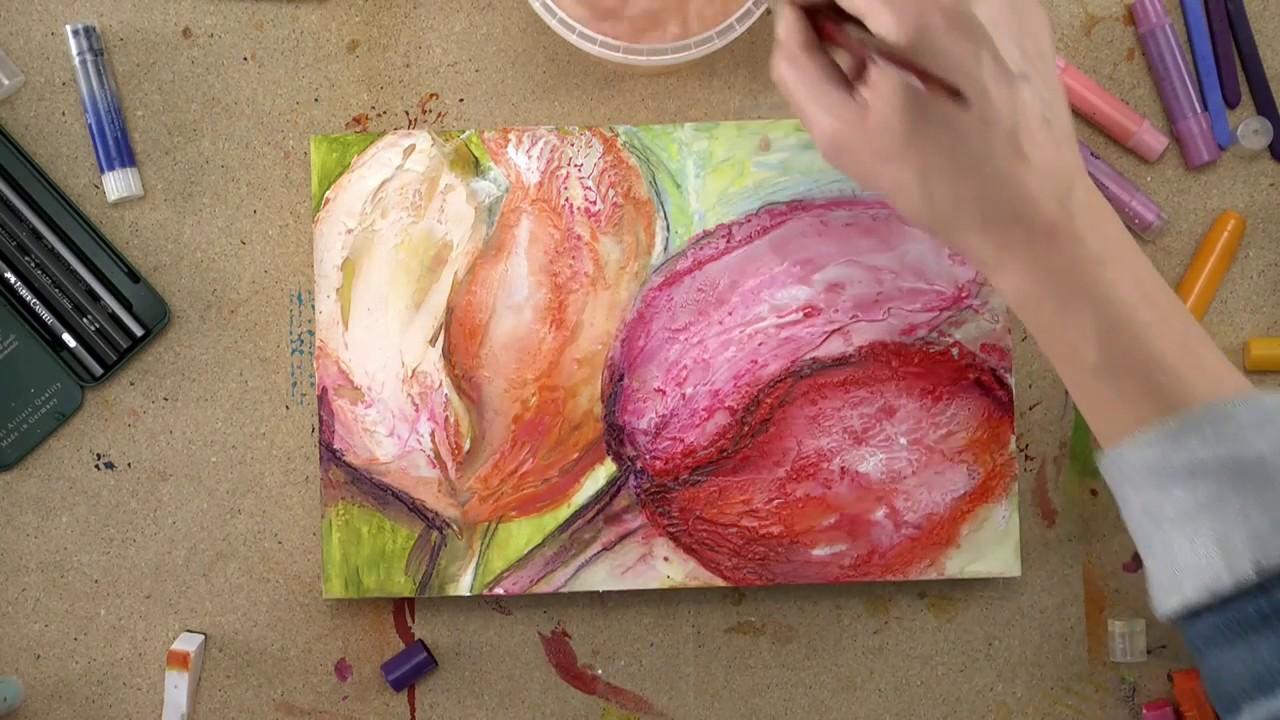 Malen mit Kreide und Acryl  Tulpen Begleitvideo zur
