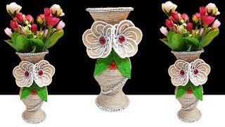 How to make New Design Flower Vase from Plastic Bottle and Jute | Best out of waste |Jute craft idea