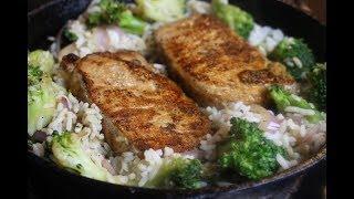 Pork Chop, Rice, and Broccoli Skillet