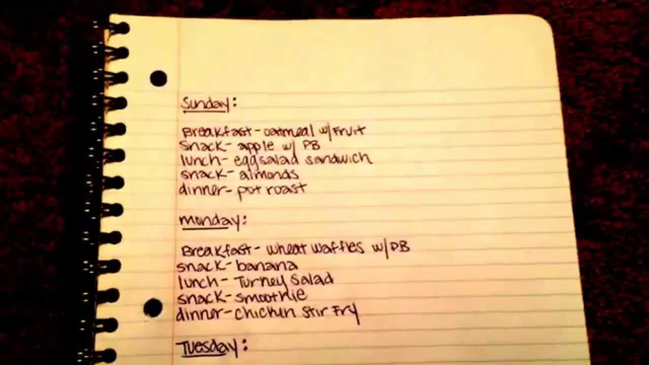 My Weekly Meal Plan Jillian Michaels 30 Day Shred Youtube