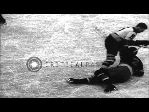 Boston Bruins win the National Ice Hockey League by 3-2 against New York Ranger i...HD Stock Footage
